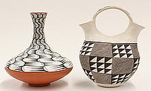 Native American Acoma pottery double-necked wedding vase