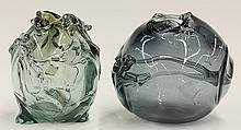 (lot of 2) Modernist studio glass sculptures by Robert Fritz (American, 1920-1986), executed in clear and smoked glass, of spherical...
