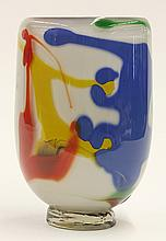 Studio glass vase by Robert Varin, of footed cylindrical form, having multi colored abstract shapes on a milk glass ground, the whol...