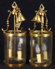 Pair of brass foyer lights