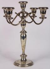 Poole weighted sterling silver scrolling five light candelabra with gadrooned accents, 15
