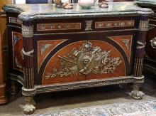 French Empire style gilt mounted mahogany sideboard