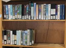 Two shelves of VHS tapes relating to Natural History