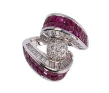 Ruby, diamond and 18k white gold ring