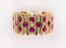 Ruby, diamond and 14k yellow gold ring