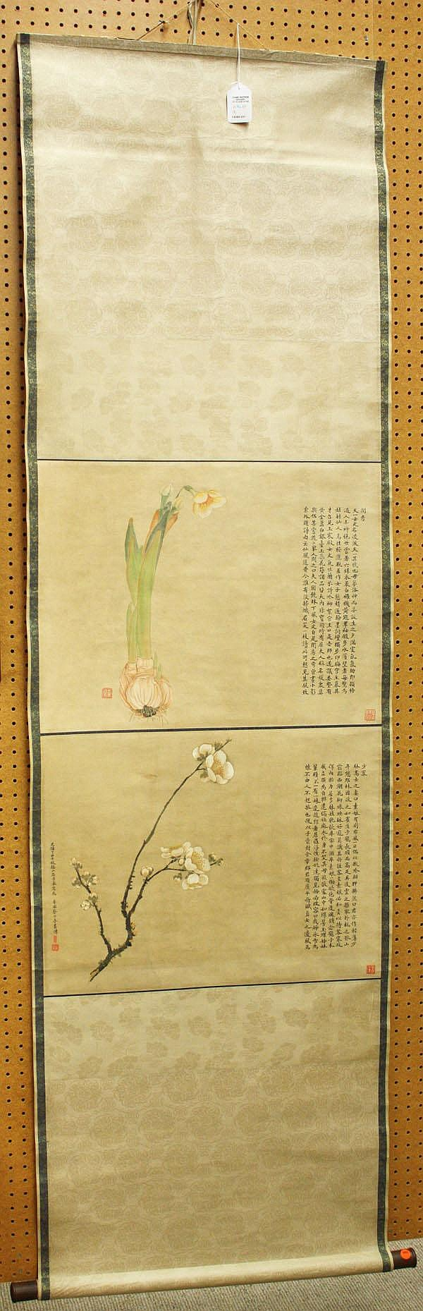 Chinese Scroll, Ju Lian(after), Flowers