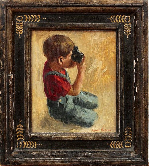 Painting, Gunnar Anderson, Boy with a Camera