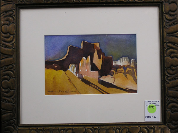 Framed watercolor on paper, Southwestern Landscape, by Donal Clark Jolley (Califorian 1933-), signed lower left, affiliation initials lower left,