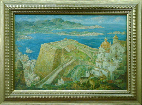 Framed oil on canvasboard, Harbour of Ibiza (1935) by Martin Baer (Californian 1894-1961), signed, inscribed and dated lower right, Newhouse