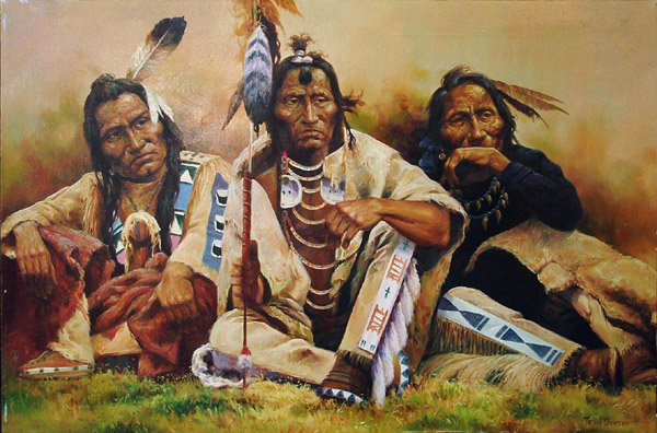 Unframed oil on canvas, Indian Chiefs, by Troy Denton (American 1949-?) signed lower right, image: 24