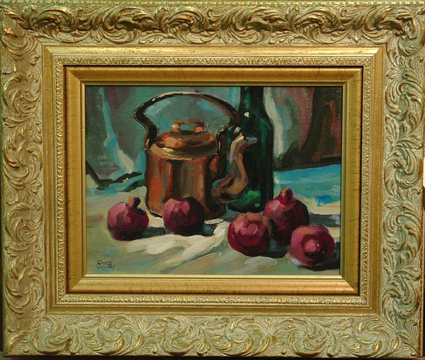 Framed oil on board, Still Life, by Quince Rudolph Galloway (Californian 1912-), signed lower left, image: 10