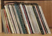 One shelf of records