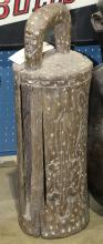 Tribal style floor-standing slit gong, having incised decoration of faces and a turtle, 29