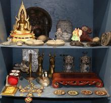 Three bins of decorative art including a decorative gilt Buddha