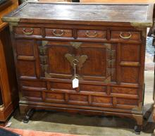Korean bandaji chest, having rectangular top above four small drawers, with a two door cabinet having metal butterfly hinges, 32