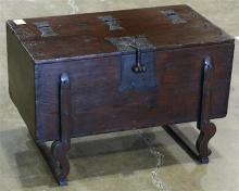 Korean money chest (ton-kwe), the rectangular body with hinged lidded, mounted with stylized cast iron hardware, 17