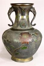 Japanese Large Champleve Cloissonne Vase, Meiji