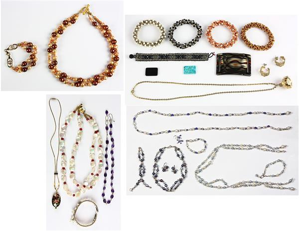 Collection of cultured pearl, multi-stone, 14k gold, metal and bead jewelry