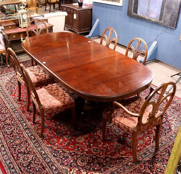 (lot of 7) Hepplewhite style dining group, consisting of (2) armchairs, (4) side chairs, each having a carved oval splat in the form...