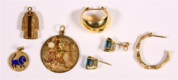 (Lot of 6) Multi-stone, enamel and yellow gold jewelry