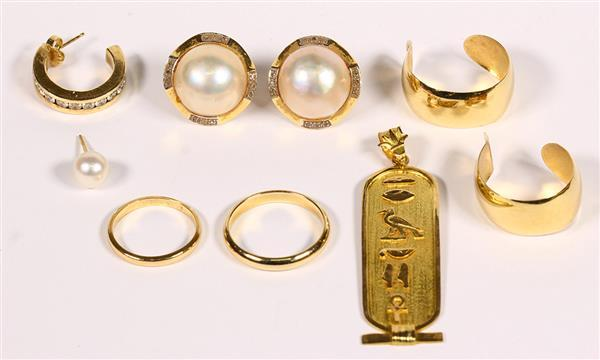 (Lot of 7) Diamond, cultured pearl and yellow gold jewelry