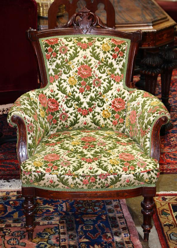 Victorian walnut upholstered armchair, 39