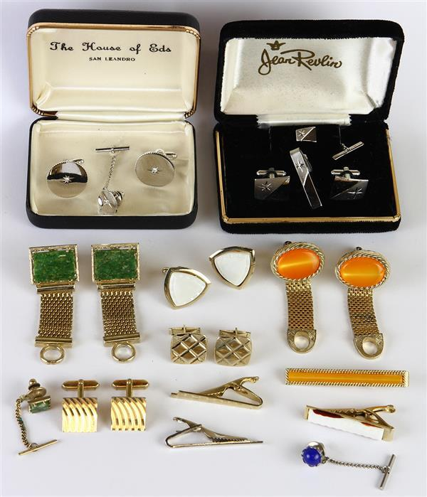 Collection of gentlemen's stone, glass and metal jewelry