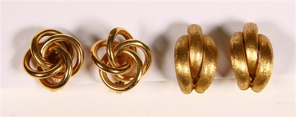 (Lot of 2) 14k yellow gold earrings