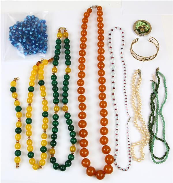 (Lot of 10) Multi-stone, plastic and metal jewelry