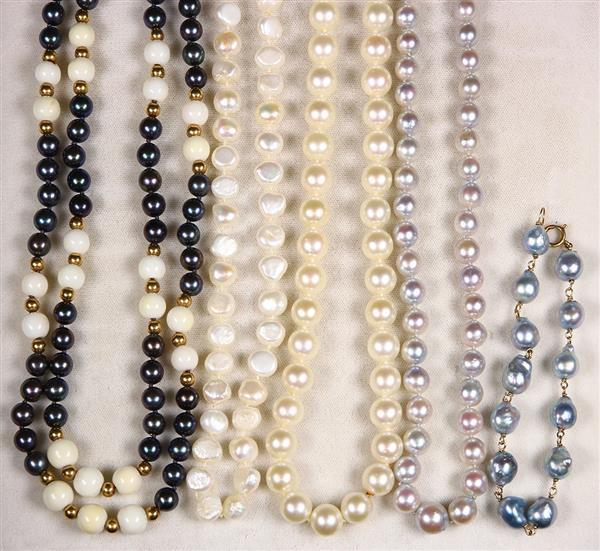 (Lot of 5) Cultured pearl, diamond, coral, gold and metal jewelry