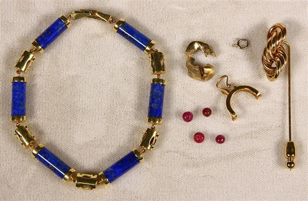 (Lot of 5) Multi-stone, gold jewelry and items