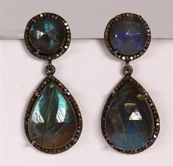 Pair of Labradorite, diamond, black and silver earrings