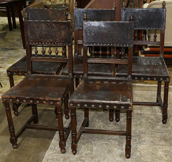 (lot of 5) French Henri II style embossed leather chairs
