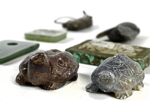 Chinese Hardstone Toggles: Cicada, Turtle, Belt Plaques