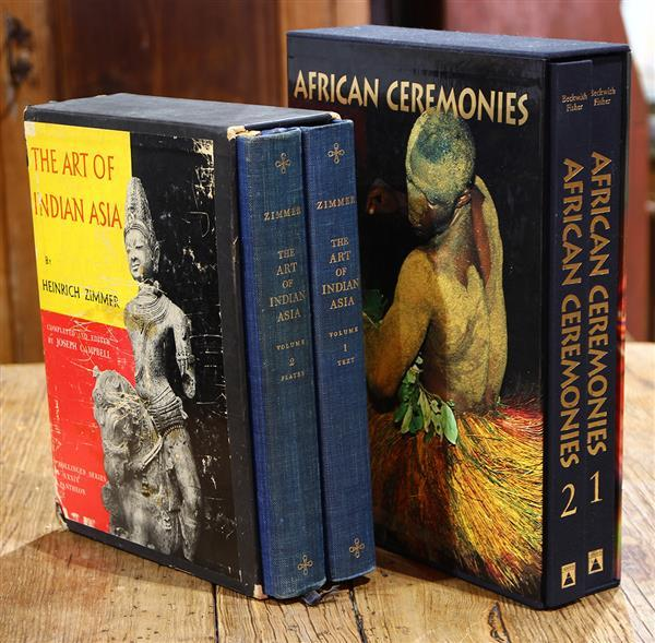 (lot of 2) Sets of Books; two volumes on African Ceremonies by Beckwith and Fisher, 1999, and two volumes on Art of Indian Asia by H...