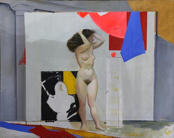 Painting, Nude Woman in an Abstract Room