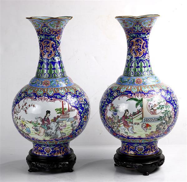 Chinese Painted Enamel Metal Blue Vases, Figural Reserves