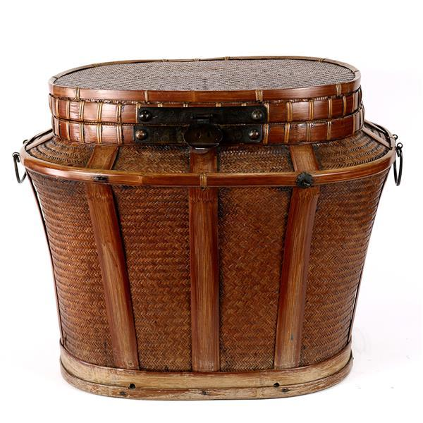 Chinese Large Woven Basket with Hinged Lid