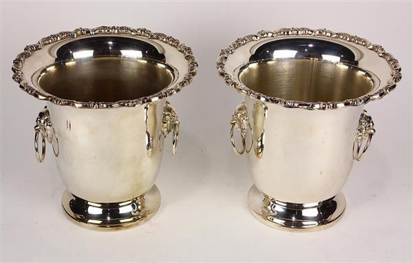 Pair of Leonard Regency style silver plate ice buckets