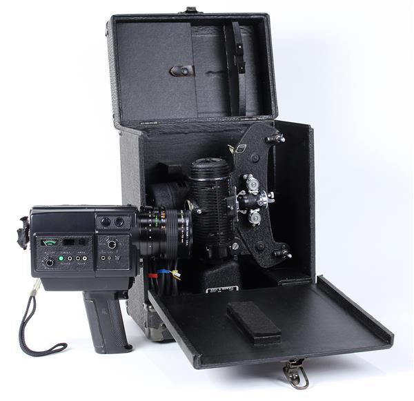 (lot of 2) Vintage projector and Chinon 1206 SM/ Direct Sound Camcorder, each in a fitted carrying case, largest; 16