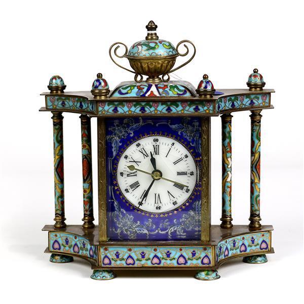 Champlevé style mantle clock