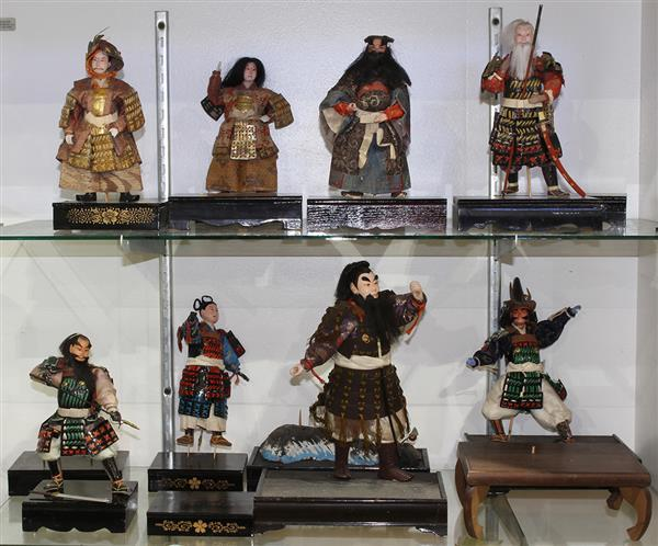 (lot of 8) Japanese samurai warrior dolls and stands,