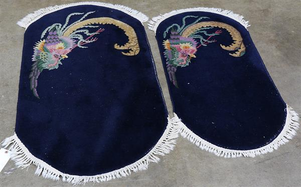 (lot of 2) Asian small rugs (pair), 3' 10