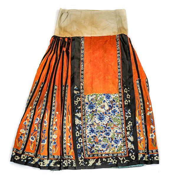 13727f6ff2339 Chinese Silk Orange Ground Floral Skirt
