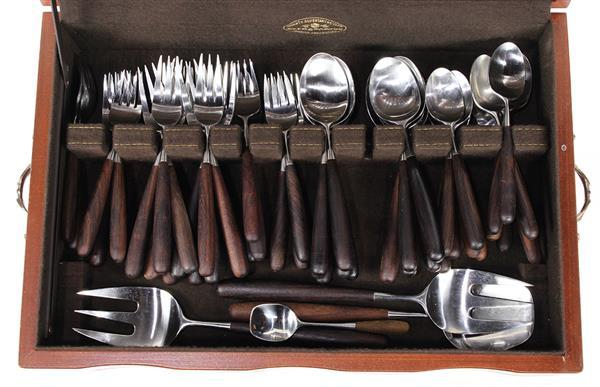 Lauffer Palisander rosewood and stainless flatware service f