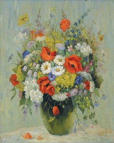Gumlich-Kempf, Anna: Framed oil on board, Floral