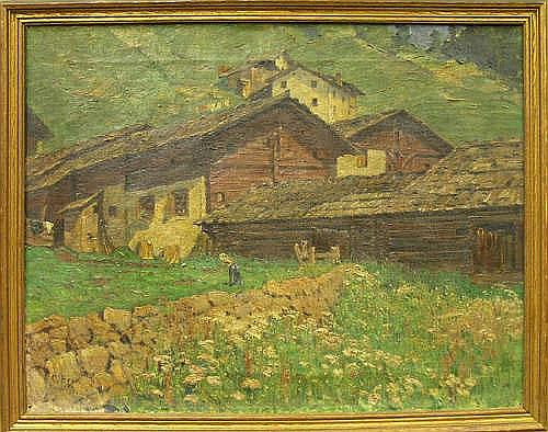 Arp, Carl: Framed oil on canvas, Alpine Farm, by