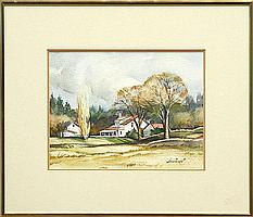 Painting, Stanislaus Sowinski, Farmhouse