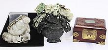 Chinese Hardstone Carvings, Flower/Budai/Box