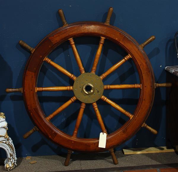 Large mahogany ship's wheel